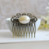 Oval Cream Ivory Pearl Antique Brass Filigree Hair Comb. Vintage Pearl Cabochon, Art Nouveau Filigree Comb, Wedding Bridal Hair Comb