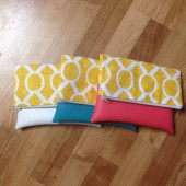 yellow modern print clutch