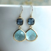 Blue Glass Wedding Earrings