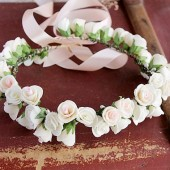 Bohemian rose crown, Flower girl crown, Woodland head wreath