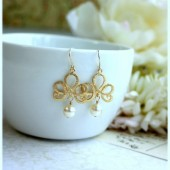 Matte Gold Plated Filigree, White Pearls, Chandelier Dangle Earrings. Venetian Italian Inspired.