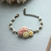 PInk Floral Bouquet, Ivory Mum, Ivory Pearl Garden Flower Collage Bracelet