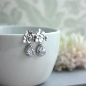 Silver Cherry Blossoms Earrings. Orchid Flower, Lux Silver Pear Cubic Zirconia Teardrop Ear Post Earrings