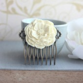 Ivory Peony Poppy Flower Hair Comb. Vintage Inspired Antique Brass Art Nouveau Filigree Hair Comb
