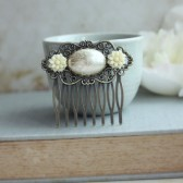 Floral Ivory Cream Oval Cabochon, Ivory Mum Flower Filigree Hair Comb.