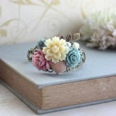 Ivory, Blue Pink Flowers Bouquet, Brass Leaf Filigree Collage Cuff Bracelet.