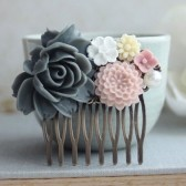 Grey and Pink Flower Collage Hair Comb.