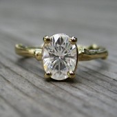 Oval Moissanite Branch Engagement Ring: Yellow, White, Rose Gold, 1.5ct, Forever Briliant