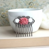 Romantic Rose Flower, White Chrysanthemum Flower Collage Antiqued Brass Hair Comb,