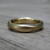 Organic Wedding Band: White, Yellow, or Rose Gold, 4mm Wide