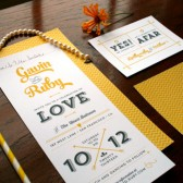 Wedding invitation suite in any color. Tall & skinny houndstooth pattern invite set includes RSVP