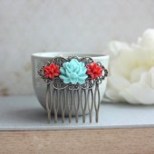 Aqua Blue Rose, Coral Red Lily Flower Collage Antiqued Brass Hair Comb, Bridesmaids Gift