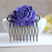 Purple Rose Flower Bridal Hair Comb