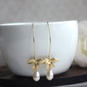 Orchid Flower Pearl Earrings. An Orchid Dangle Marquise Long Dangle Earrings.