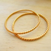 Set of Two 14k Gold 1mm Twisted Rope Wedding Rings
