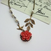 Coral Sakura Flower, Flying Swallow Bird, Brass Leaf, Ivory Pearls Necklace. Bridesmaids Gift Ideas. Maid of Honor.