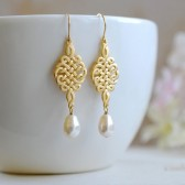 Wedding Bridal Gold Celtic Knot Swarovski Ivory Teardrop Pearl Earrings. Wedding Jewelry, Bridal Earrings, Bridesmaid Gift, Bridal Party