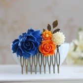 Cobalt Blue and Orange Wedding Bridal Hair Comb. Large Cobalt Blue Rose, Orange, Ivory Flowers Collage Hair Comb, Bridal Bridesmaid Comb