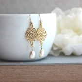 Gold Celtic Knot Earrings. Celtic and Ivory Pear Teardrop Pearl Earrings.