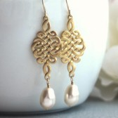 Celtic Knot Ivory Pearl Earrings