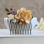 Large Cream Ivory Rose Flower Collage Hair Comb,