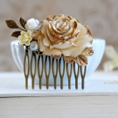 Antiqued Gold and Ivory Rose Hair Comb