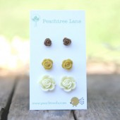 Mustard Earrings << Cream Rose Earrings << Brown Earrings