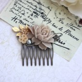 Brown, Taupe Rose, Brass Leaf, Pearl, Brown Mum Flower Collage Hair Comb