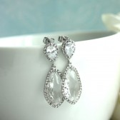 Large Teardrop LUX Rhodium Plated Cubic Zirconia, Clear Glass Drops Earrings.