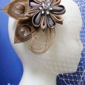 Champagne Beige Platinum Kanzashi Flower Hair Clip with French Veil, Mocha Peacock Eye Feather Fascinator, Taupe Feather Rhinestone Wedding Veil