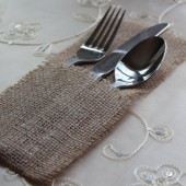 Burlap Silverware Holder, Pocket, Utensil Pouches // Rustic Weddings