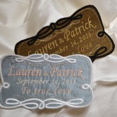 French Silk Satin Custom Embroidered Wedding Dress Label, His and Hers