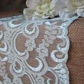 Burlap & Blue Lace Table Runner - Weddings, Home Decor, Rustic, Shabby Chic