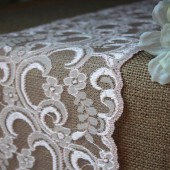 Burlap & Pink Lace Table Runner - Weddings, Home Decor, Rustic, Shabby Chic