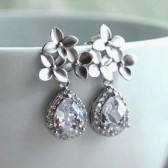 Silver Cherry Blossoms Cubic Zirconia Earrings