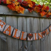 fall in love banner,fall wedding decor,fall party barn,autumn wedding decor,barn wedding,rustic wedding decor,fall banners,weathered signs for wedding,wedding signs