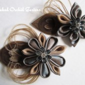 Peacock Feather Wedding Hair Clip Champagne, Taupe, Platinum Kanzashi Flower Hair Clip Fascinator for Maid of Honor, Bridesmaid, Flower Girl