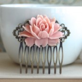 Large Pink Rose Flower Comb
