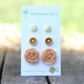 Pastel Flower Earring Trio