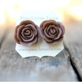 Large Brown Rose Flower Earrings