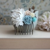 White Rose, Soft Blue, Ivory Mum, Aqua Blue, Soft Peach, Rhinestone, Brass Leaf Flower Wedding Comb