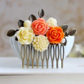 Orange Wedding Bridal Hair Comb