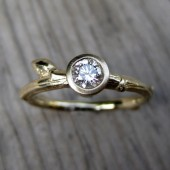 Budding Twig Diamond Engagement Ring in Recycled Gold, .25ct VS/GH Diamond
