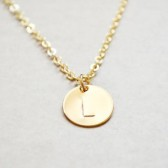 Gold Letter Stamped Initial Pendent