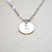Silver Letter Stamped Initial Pendent