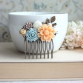 Peach Chrysanthemum, Blue Rose, Brown Mum, Ivory, Pearl, Brass Leaf, Flower Hair Comb