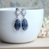 LUX Rhodium Plated Cubic Zirconia Montana Blue, Sapphire Blue Teardrop Earrings. 925 Ear Post