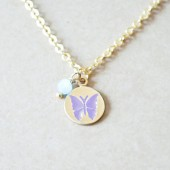Butterfly Stamped Charm Necklace - Light Purple & Blue