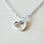 Small Open Heart Silver Charm Necklace