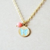 Butterfly Stamped Charm Necklace - Light Blue & Coral